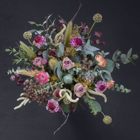 Pastel coloured bouquet with memory lane rose, pink scabious, ranunculus, daucus carota, astrantia, dried broom, scabiosa seed, amaranthus, pennisetum, dried pampas grass, mixed eucalyptus