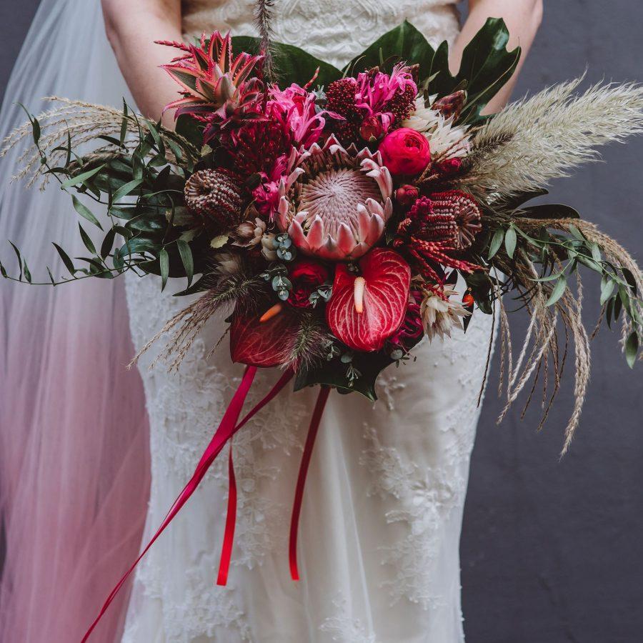 Bright Pink Bridal Unusual Bouquet
