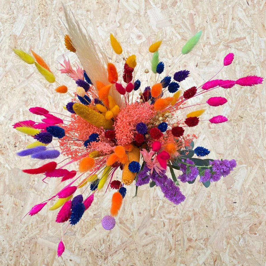 Bright coloured dried bouquet