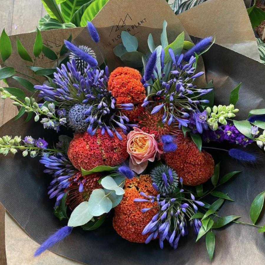 Orange and blue summer bouquet