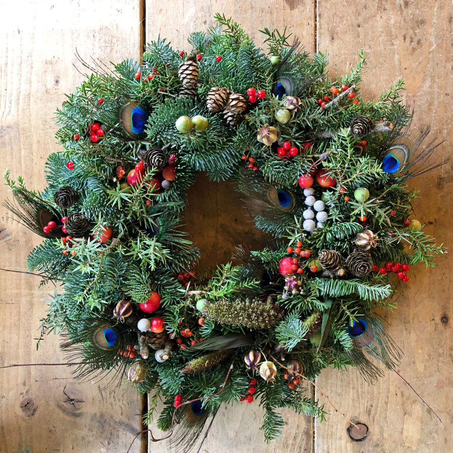 Berry Feathery Christmas Wreath 2018