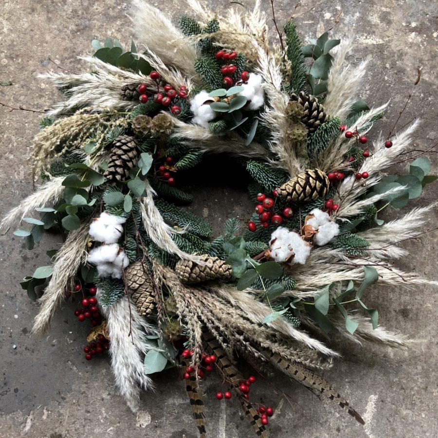 Merry pampas christmas wreath