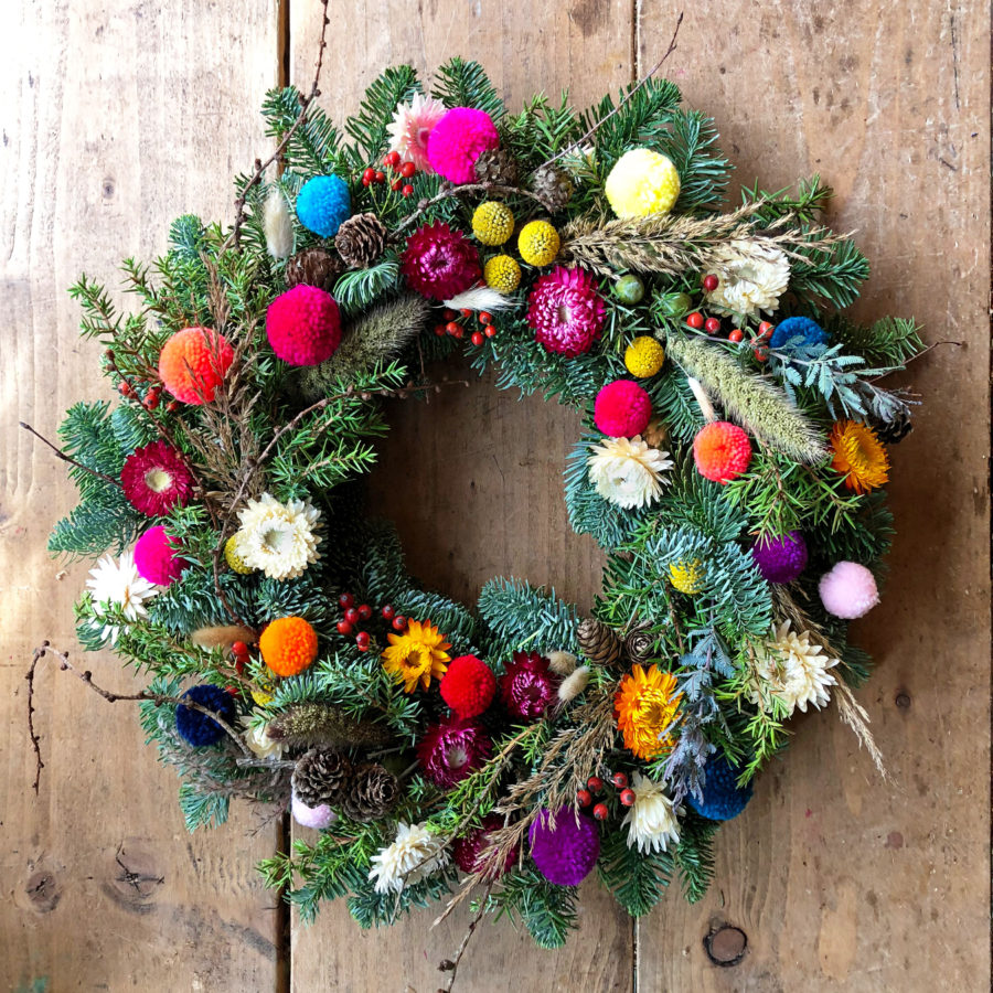 Rainbow Brights Christmas Wreath 2018