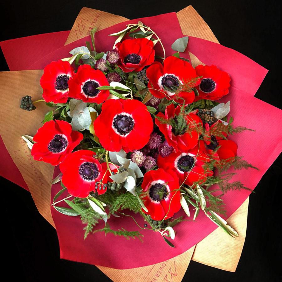 12 Red Anemone Valentines Hand Tie