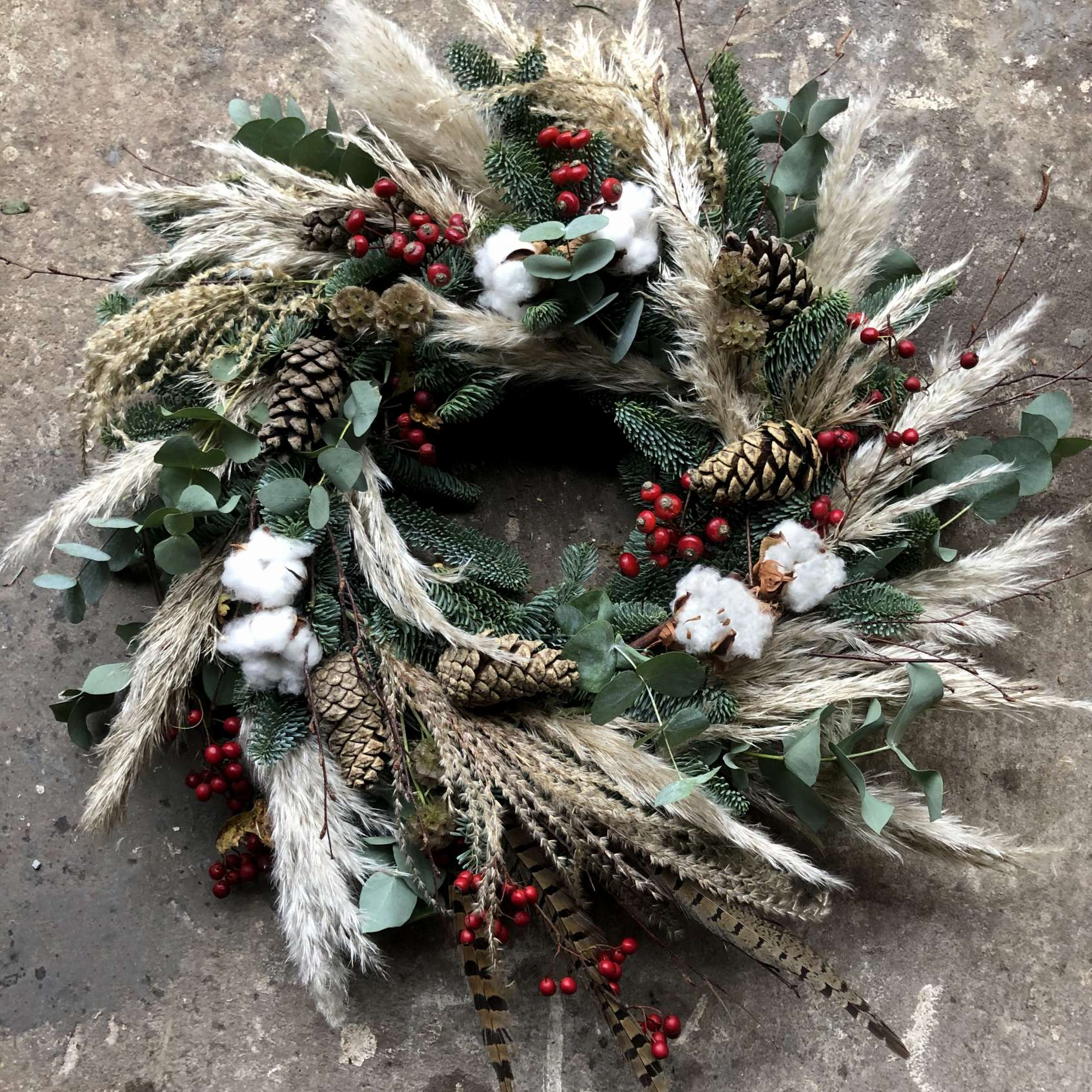 Merry pampas christmas wreath