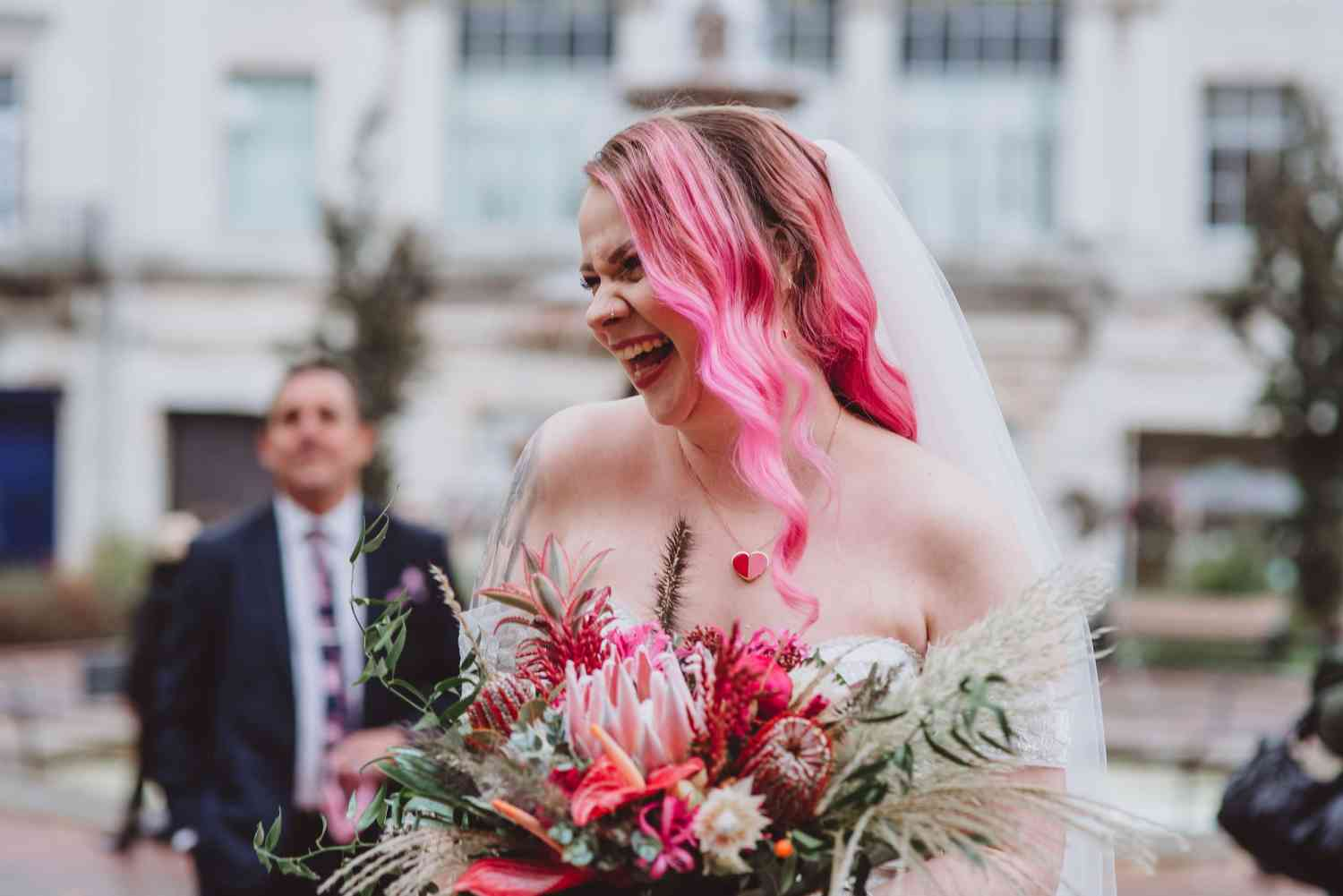 Pink and Red Unusual Bridal Bouquet