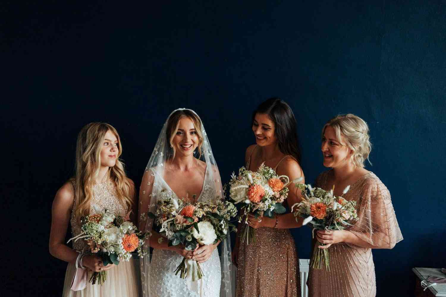 Wild summer bridal and bridesmaids bouquets
