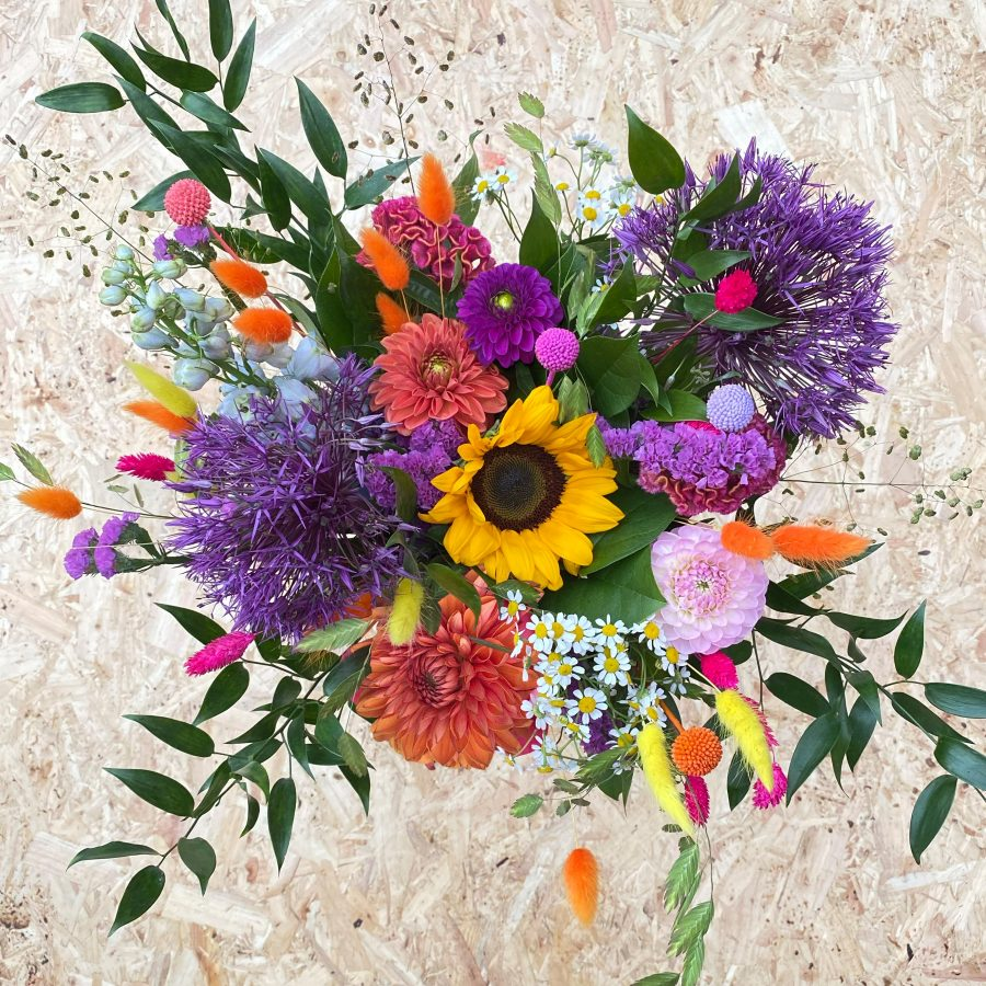 A vibrant hand-tied flower bouquet