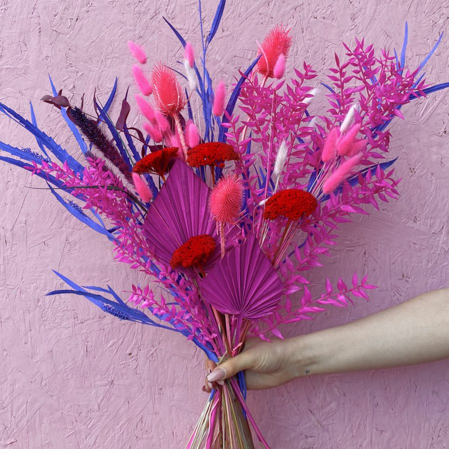 Dried hot pink, purple and red flowers