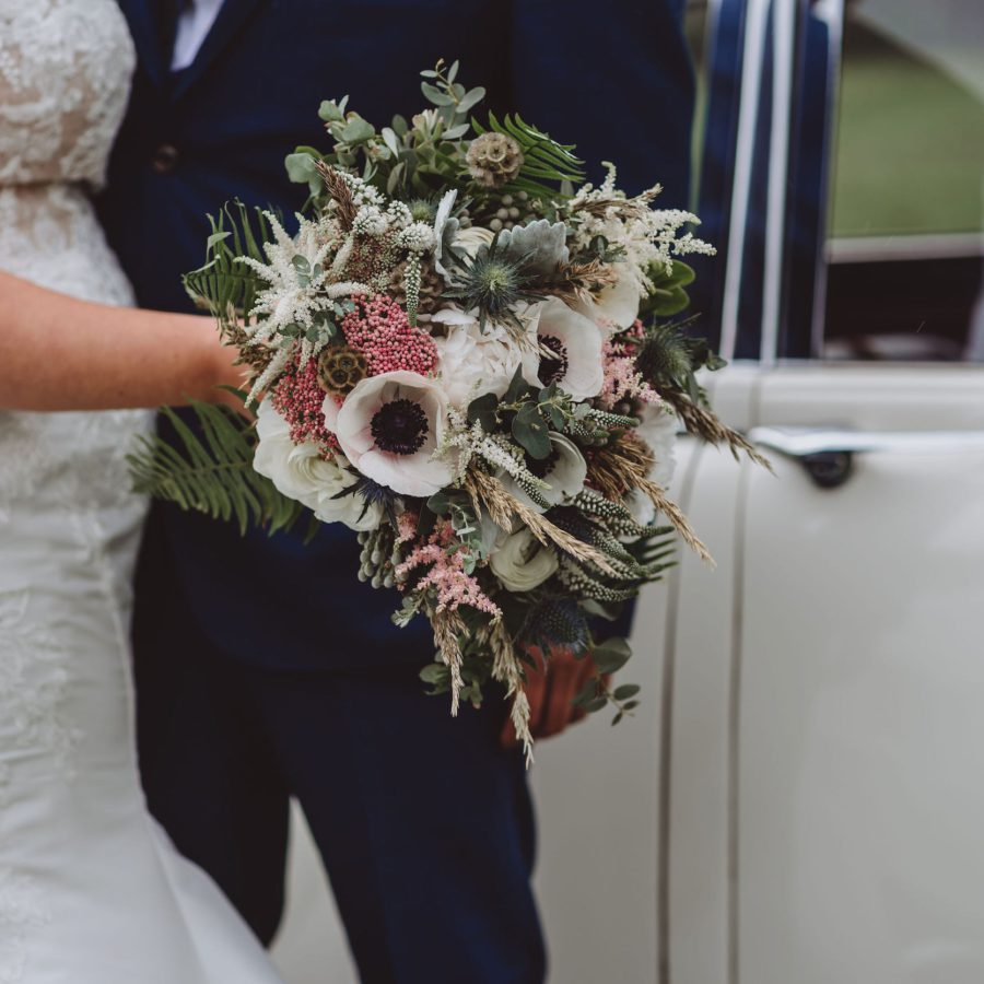 White Bridal Bouquet Pop Of Colour