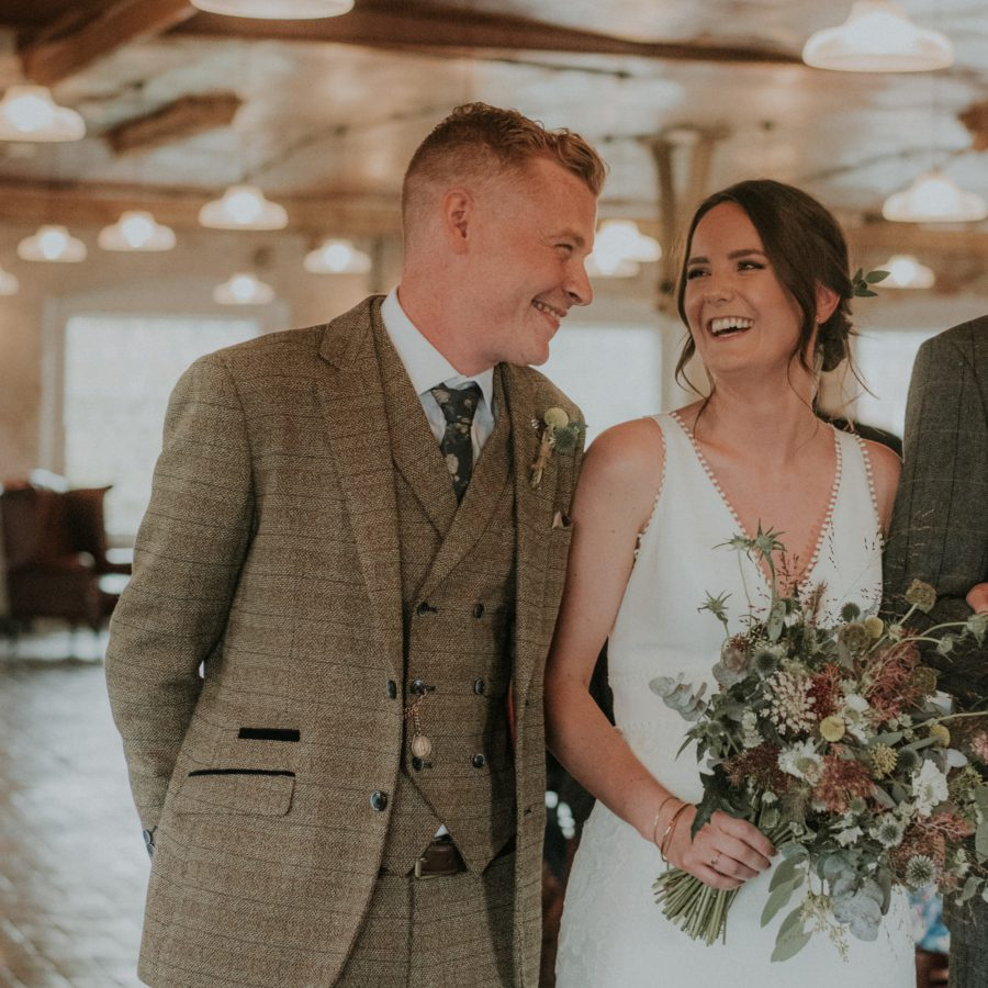 Bride and groom wild bridal bouquet