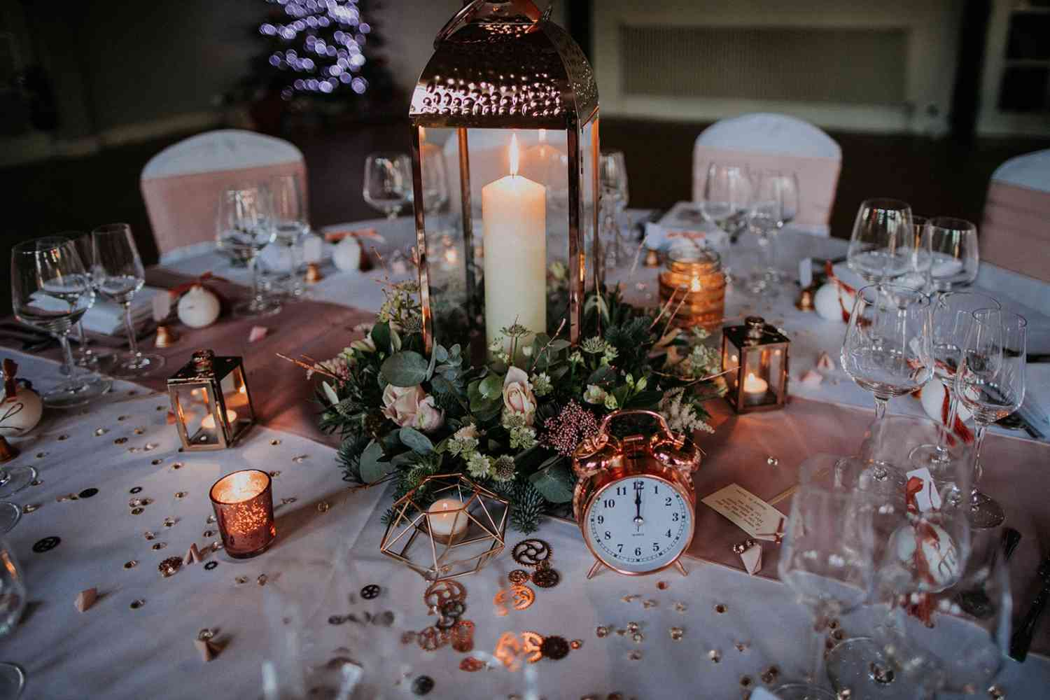 Rose Gold Winter Table Decoration