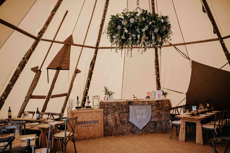 Tipi wedding floral chandelier