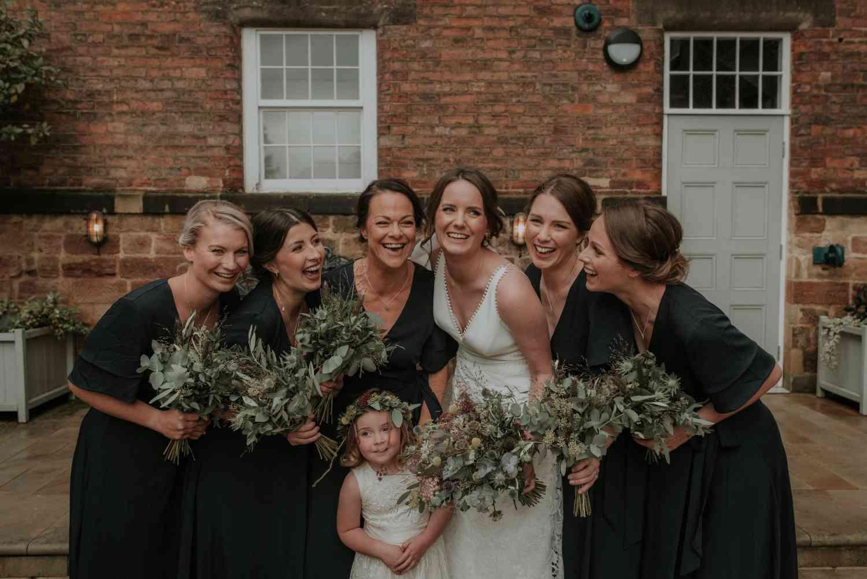 Bride and bridesmaides wild bouquets